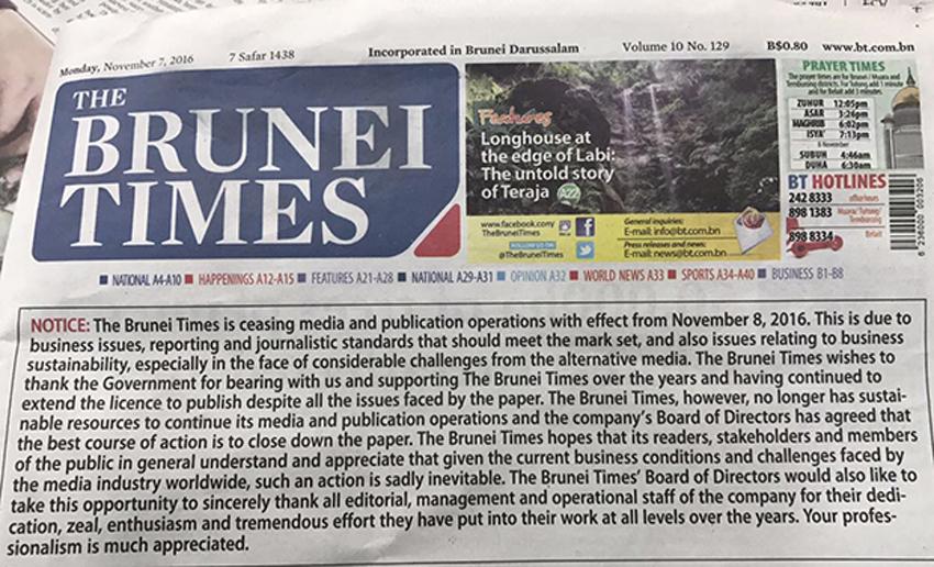 Brunei Times in surprise closedown