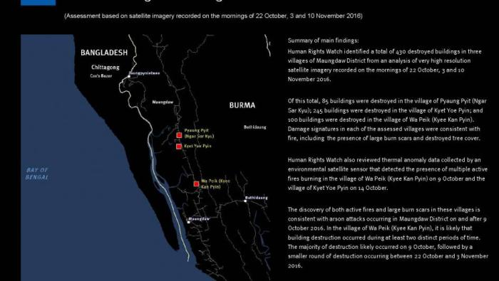 Human Rights Watch identified a total of 430 destroyed buildings in three villages of Maungdaw District from an analysis of very high resolution satellite imagery recorded on the mornings of October 22, November 3, and November 10, 2016. © 2016 Human Rights Watch