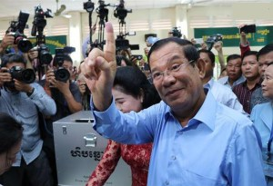 "Cambodia opposition bemoans ""death of democracy"" after ruling party claimes landslide win"