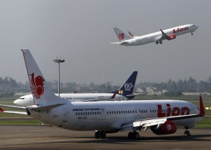 A Lion Air airplane takes off at Soekarno-Hatta airport in Jakarta
