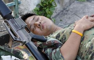 Sleeping Thai soldier