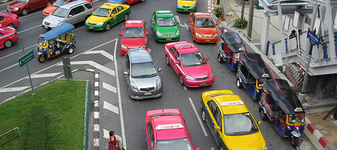 Bangkok's taxi driver line up for protests