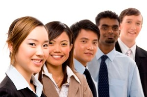A confident and diverse group of business personnel