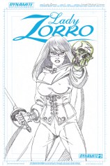 LADY ZORRO #3 BLACK AND WHITE COVER
