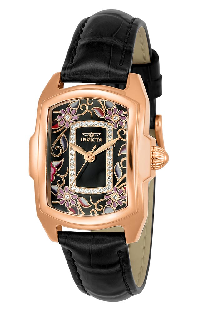 Invicta Lupah Womens Quartz 29mm Rose Gold Case Black Dial