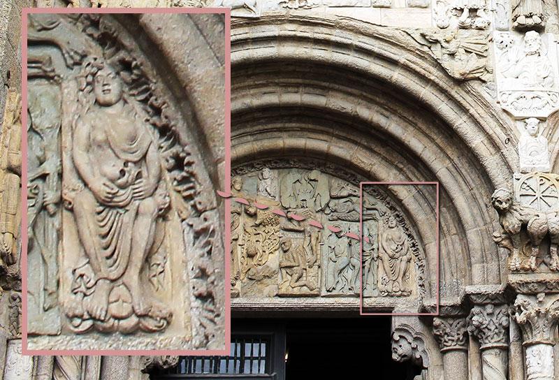 La Adultera en la fachada, citada en el códice calixtino.