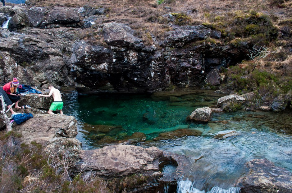 Swimming at Fairy pools, Isle of Skye