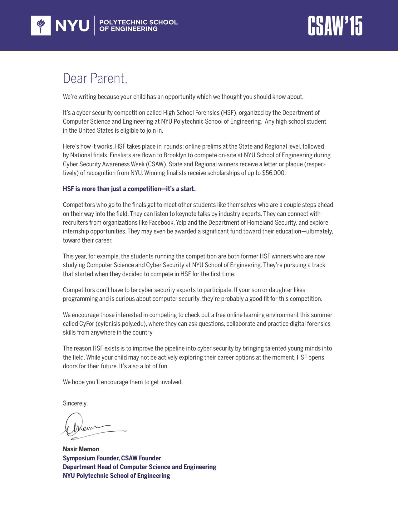 HSF Parent Letter