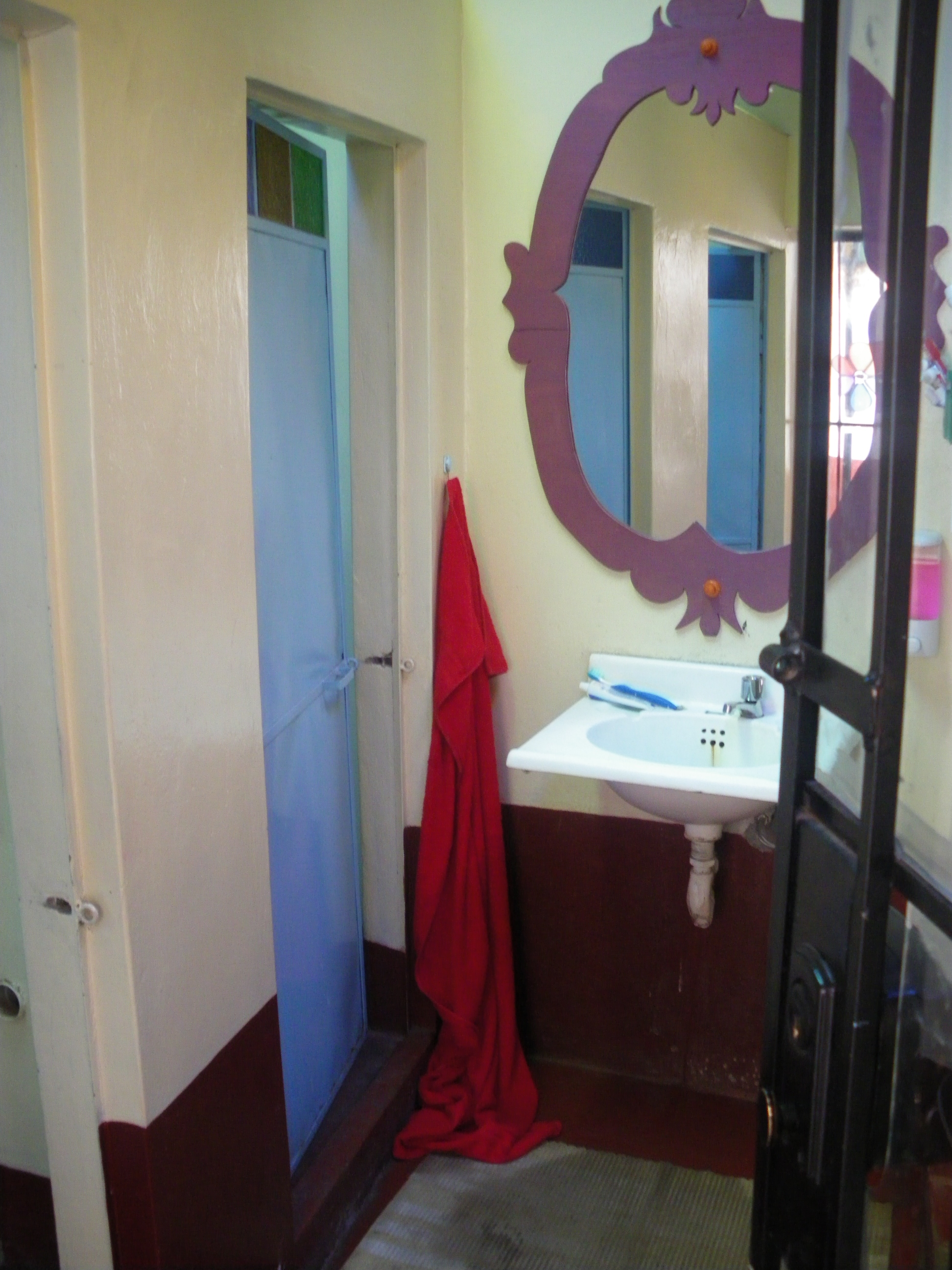 There are 2.5 bathrooms in the hostal.  A total of 4 toilets and 4 showers.  This is the one closest to my room.