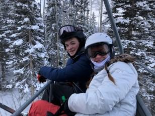 Chase and his sister Layne skiing