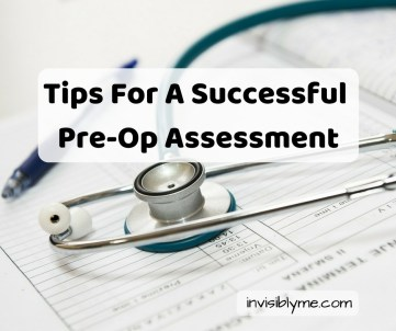 A stethoscope and pen on top of some paperwork. Overlaid is the title: Tips for a successful pre-op assessment