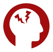 A red circle with a white silouette of a face in profile. Within the head are two red thunderbolts, suggesting pain of of a migraine.