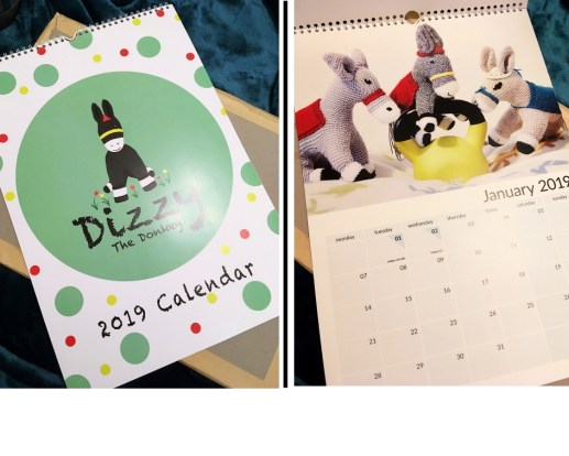 Two photos of the Dizzy 2019 large wall calendar.