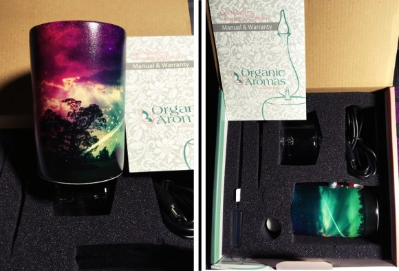 Two photos of the organic aromas diffuser. It's electric and cylindrical in shape. It used a photo of my choice as the wraparound image, which is a multicoloured night sky with trees silhouetted.