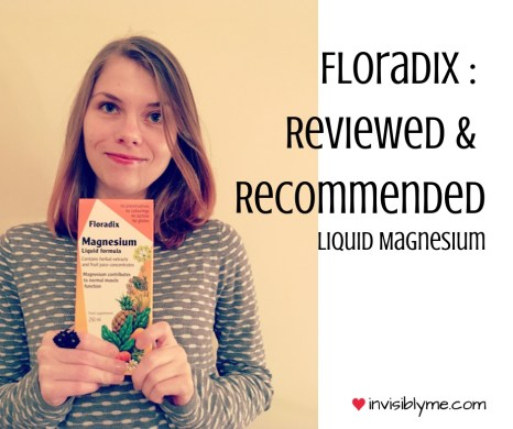 """A photo of me holding the box of Floradix liquid magnesium to the left. To the right is the title: Floradix : Reviewed & recommended""""."""
