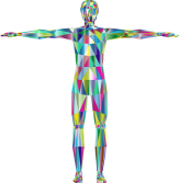 A multicoloured digital image of a human body with arms out to the sides.