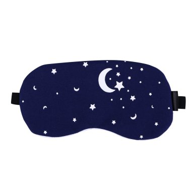 Image of a blue eye mask with a white star and moon pattern, with a clickable link to Amazon.