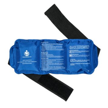 Image of a gel pack with adjustable strap, with a clickable link to Amazon.