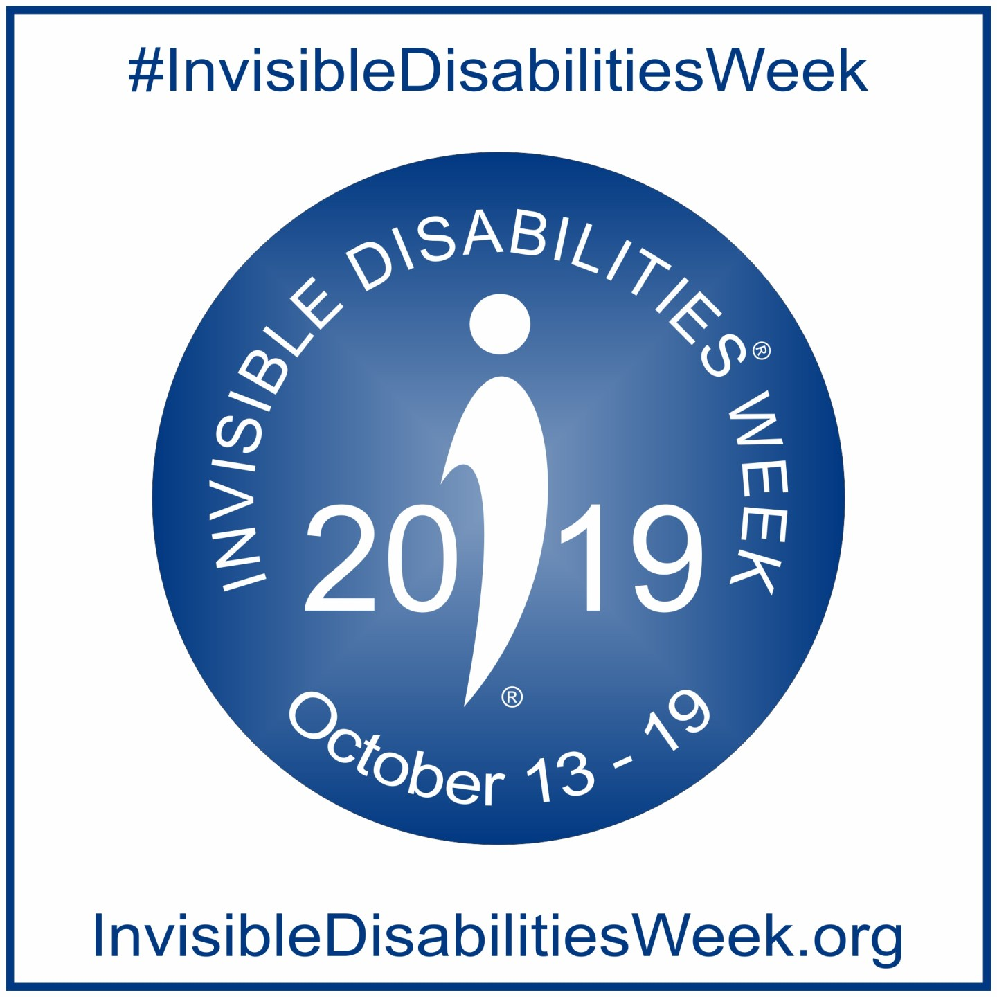 A blue and white image from the Invisible Disabilities Week website showing the dates for 2019's awareness week.