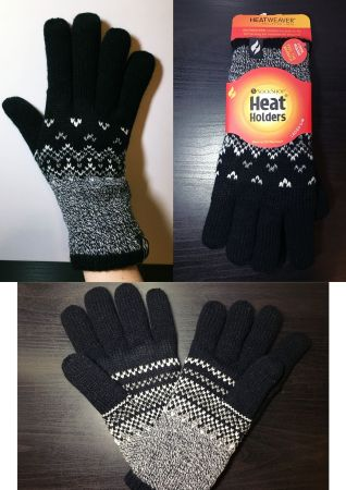 A collage of three photos taken by me of the Trondheim gloves - Black gloves with white and grey details like criss-cross patterns that cover half the glove.