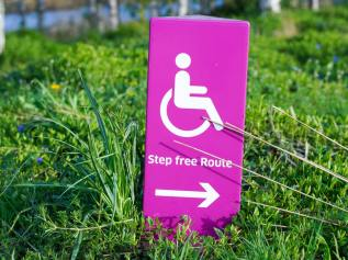 A picture of a bright pink sign with a wheelchair, arrow pointing right and the words 'step free route', standing upright on the grass.