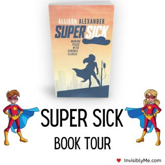A picture of the book cover with the blog title underneath flanked by two cartoon superheroes.