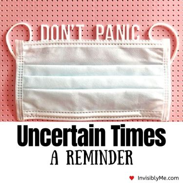A picture of a white mask against a pale pink background with the words 'don't panic' on a pin board. Underneath is the blog title.