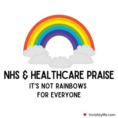 "A digital cartoon style rainbow with five fluffy white clouds underneath it. Below this is the title : NHS & Healthcare Praise. It's not rainbows for everyone""."