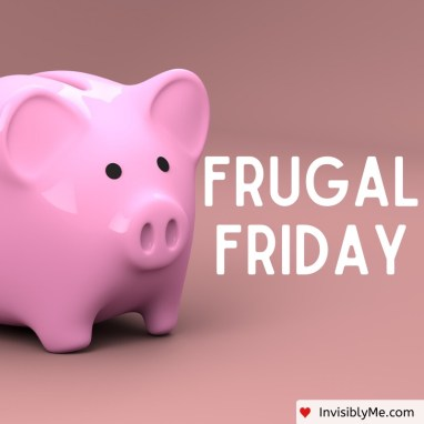A pink piggybank to the left, with a pinky beige background. The words 'Frugal Friday' are in white to the right of the piggybank.