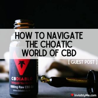 The CBDiablo CBD bottle against a black background with the dropper lid resting next to it. In the middle overlaid is the post title: How to navigate the chaotic world of CBD. Guest Post.