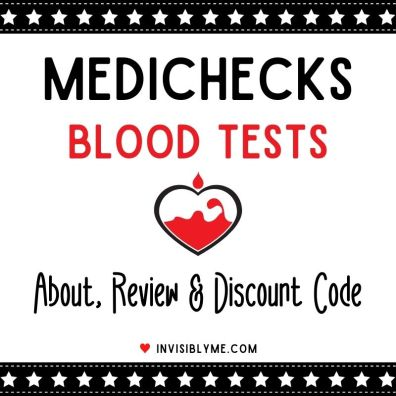 There's a black and white star border at the top and bottom. A small outline of a cartoon heart with blood and a drop above is in the middle. Above it reads : Medichecks Blood Tests. Below it reads: Review & Discount Code.