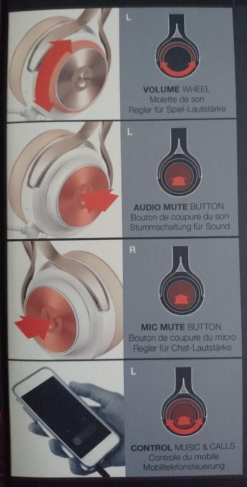 Volume Wheel, Audio Mute Button, Mic Mute Button, Control Music and Calls.