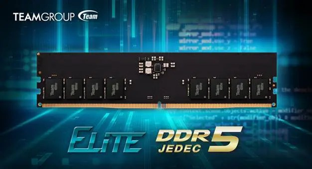 At the end of 2020, TEAMGROUP reached a cooperation agreement with top DRAM wafer manufacturers and started working on DDR5 technology. Since then, TEAMGROUP has dedicated to the research and development of DDR5 modules, collaborating with various major motherboard manufacturers to ensure that each R&D stage undergoes comprehensive testing and to deliver products of the highest quality that the industry has ever seen. TEAMGROUP is leading the industry today as we announce our official launch of the world's first DDR5 memory module for desktops, the TEAMGROUP ELITE U-DIMM DDR5, which is estimated to be available on major EC platforms for consumers worldwide by the end of June and the beginning of July. The initial launch of TEAMGROUP ELITE DDR5 memory module will support 16GBx2 of capacity at a frequency of 4800MHz, with a voltage of 1.1V CL40-40-40-77, which complies with the standard specifications defined by the JEDEC association. Compared to the maximum 3200MHz standard frequency in the DDR4 generation, the DDR5 is able to increase the speed to up to 50%. The low 1.1V voltage is also more energy efficient than its previous generation; to ensure minimum noise interference for the memory module, the power management is transferred from the motherboard onto the memory with an additional power management IC (PMIC) for more effective system load control. The most incredible feature of ELITE DDR5 is doubling the 16 banks of DDR4 to those of 32 in DDR5 to improve the IC structure, providing double access availability. An on-die ECC (error correction code) included in the DRAM IC is also available for self-recovery of the DRAM unit, ensuring that DRAM systems with DDR5 can obtain higher levels of stability. The memory module is applicable for Intel 600 series motherboards with DDR5 compatibility. TEAMGROUP's DDR5 will be available globally at the end of June and the initial product launch will be hitting the shelves at Amazon US, Newegg, Amazon Japan, and various major E
