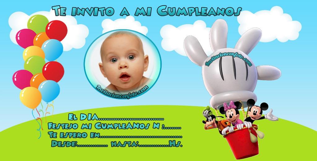 Invitación De Cumpleaños De Mickey Y Amigos Con Foto