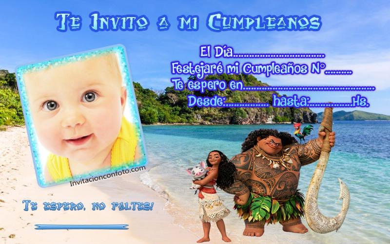 Invitaciones De Cumpleanos De Moana Con Foto Invitaciones