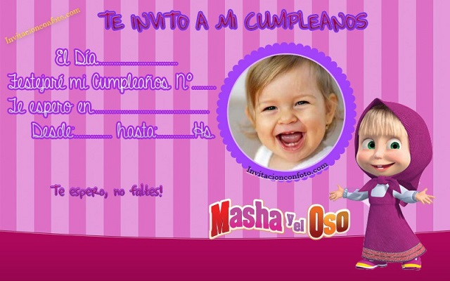 Invitación De Cumpleaños Masha Y El Oso Con Foto