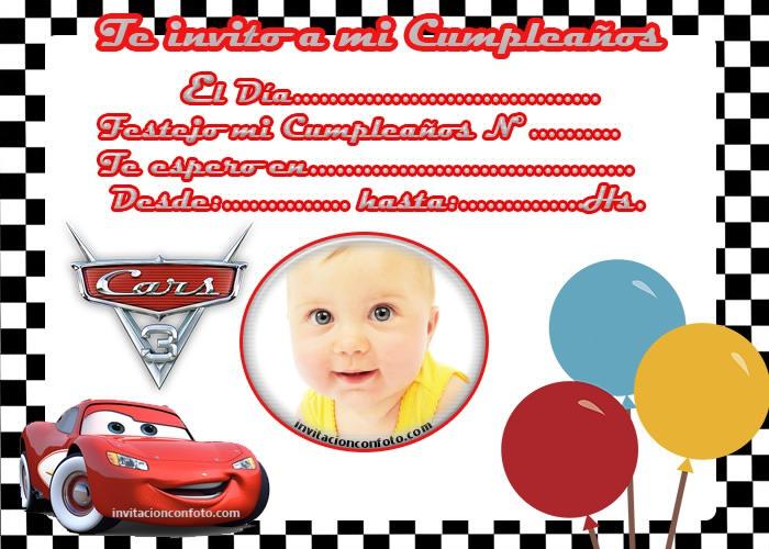 Invitaciones De Cumpleaños De Rayo Mcqueen Cars Con Foto