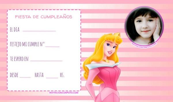 Princesa Aurora invitaciones fiesta