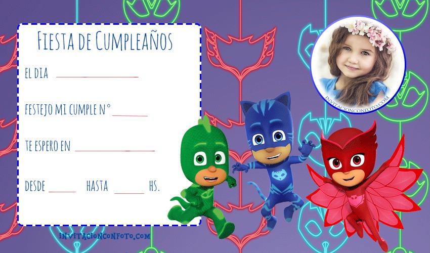 Invitación De Cumpleanos Pj Masks Con Foto Invitaciones De