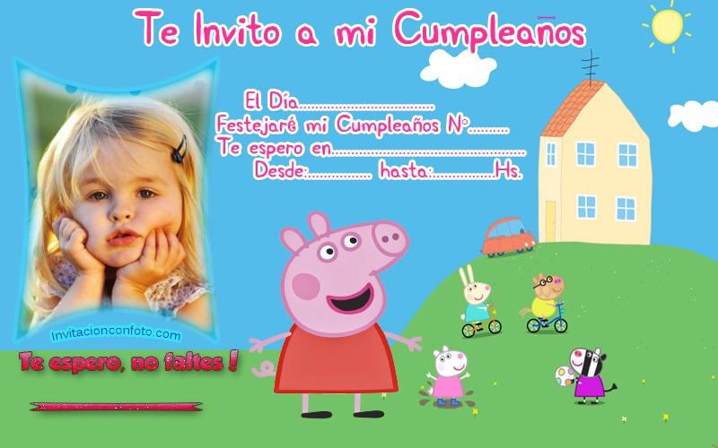 Invitación De Cumpleaños De Peppa Pig Con Foto