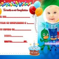 Invitación de Cumpleaños de PJ Masks o Héroes en Pijamas
