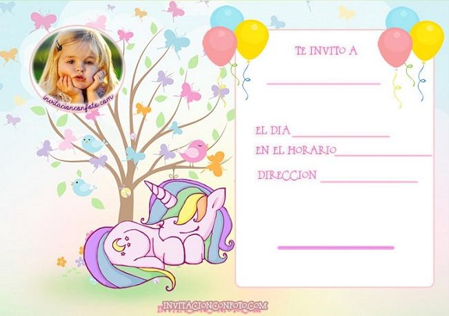 Invitaciones de Cumpleanos de Unicornios con Foto Invitaciones de Cumpleaños Infantiles con Foto