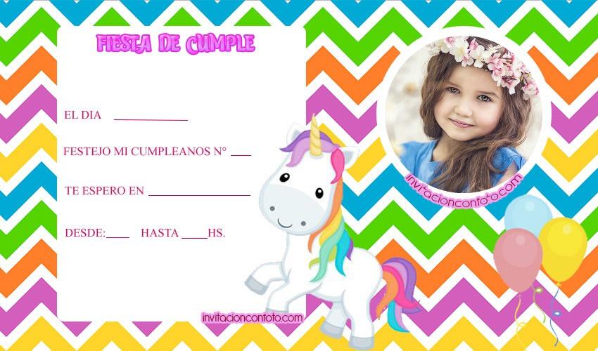 invitaciones infantiles con foto - invitaciones de unicornios para cumpleanos