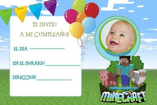 invitaciones minecraft -tarjetas cumpleanos para editar con foto gratis