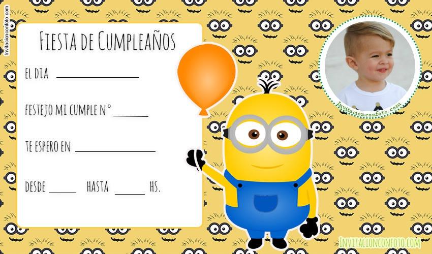 Invitaciones De Cumpleaños De Minions Con Foto
