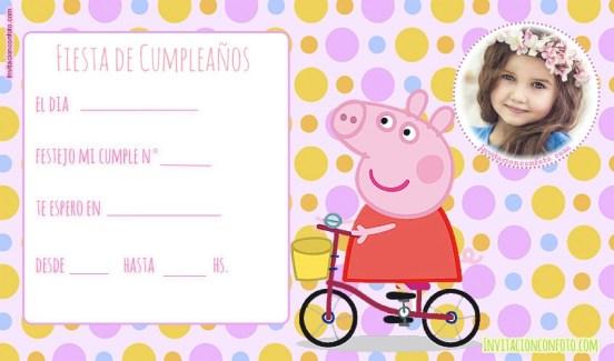Invitaciones de Cumpleanos Peppa pig con Foto
