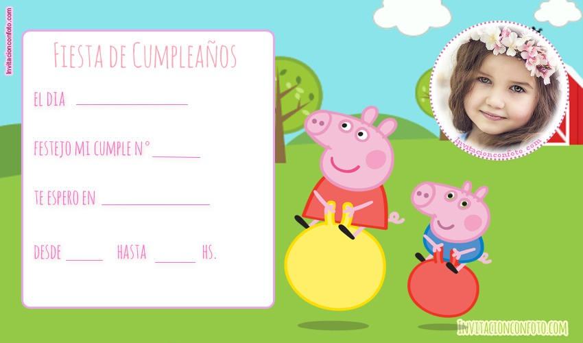 Invitaciones De Cumpleanos De Peppa Pig Con Foto