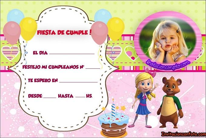 invitaciones de cumpleaños Goldie y Osito