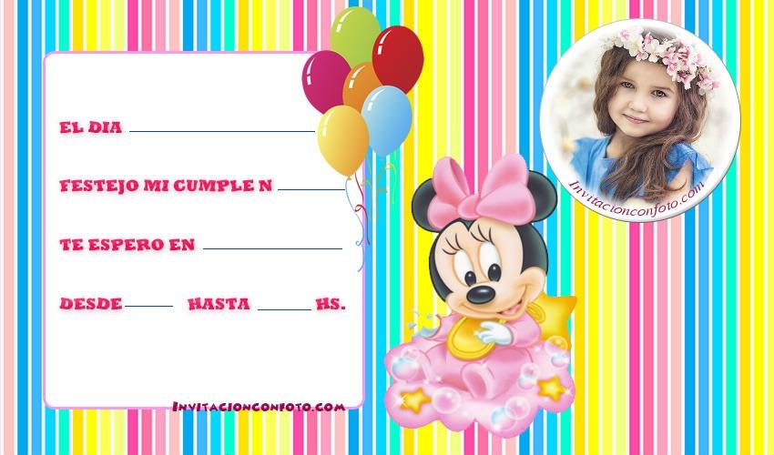 Invitaciones de Cumpleanos de Minnie bebe -tarjetas minnie bebe