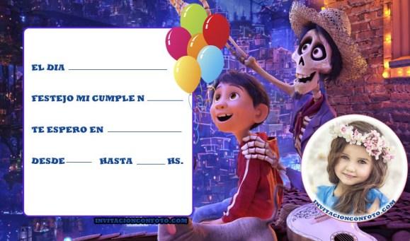 Invitacion de cumpleanos de Coco Disney